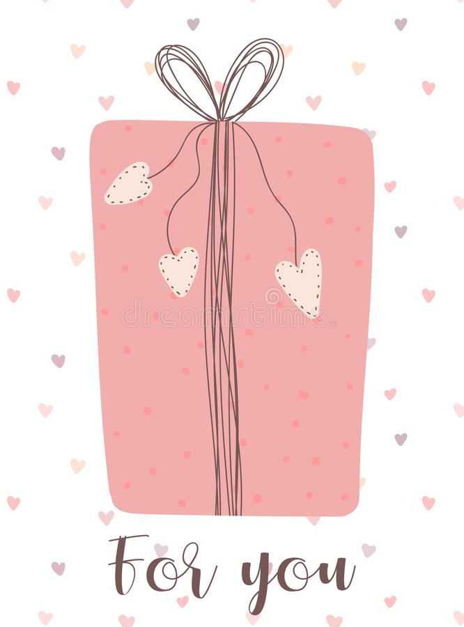 Vector image of a pink gift on a background of hearts and the inscription For you. Illustration for Valentine`s Day, lovers, print royalty free illustration