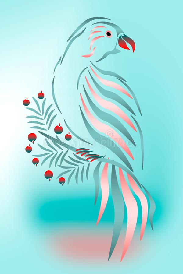 Pink parrot on a blue background. royalty free illustration