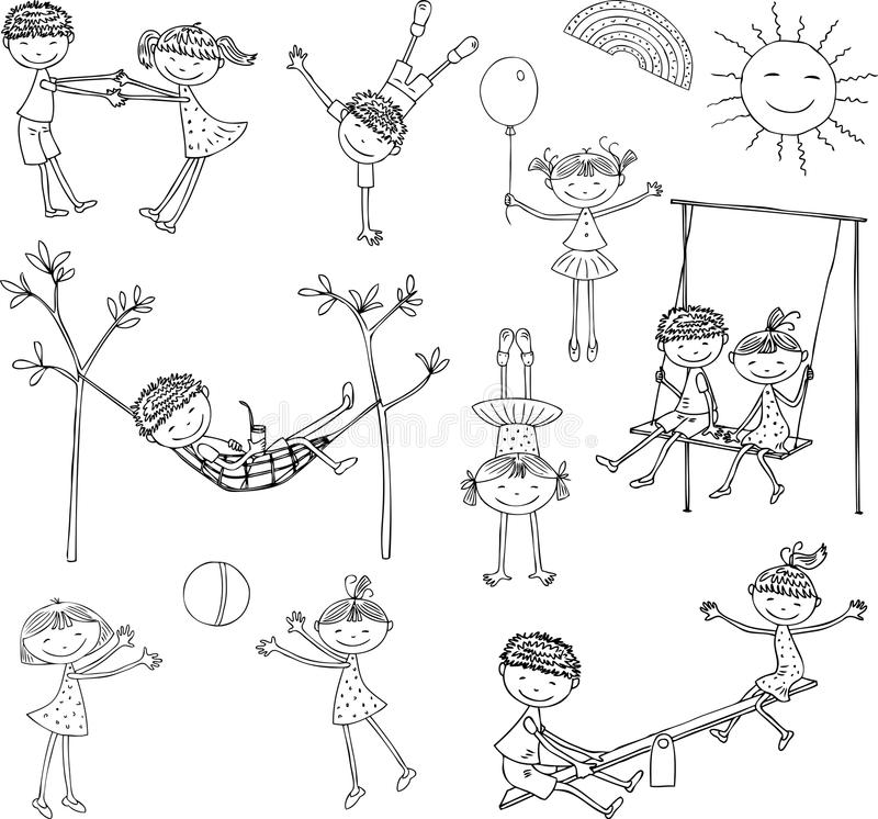 Cartoon kids play and relax on a summer day vector illustration