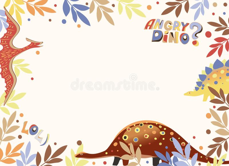 Vector image of a postcard with a white background and a frame of leaves, balls and ancient reptiles, as well as the stock photos