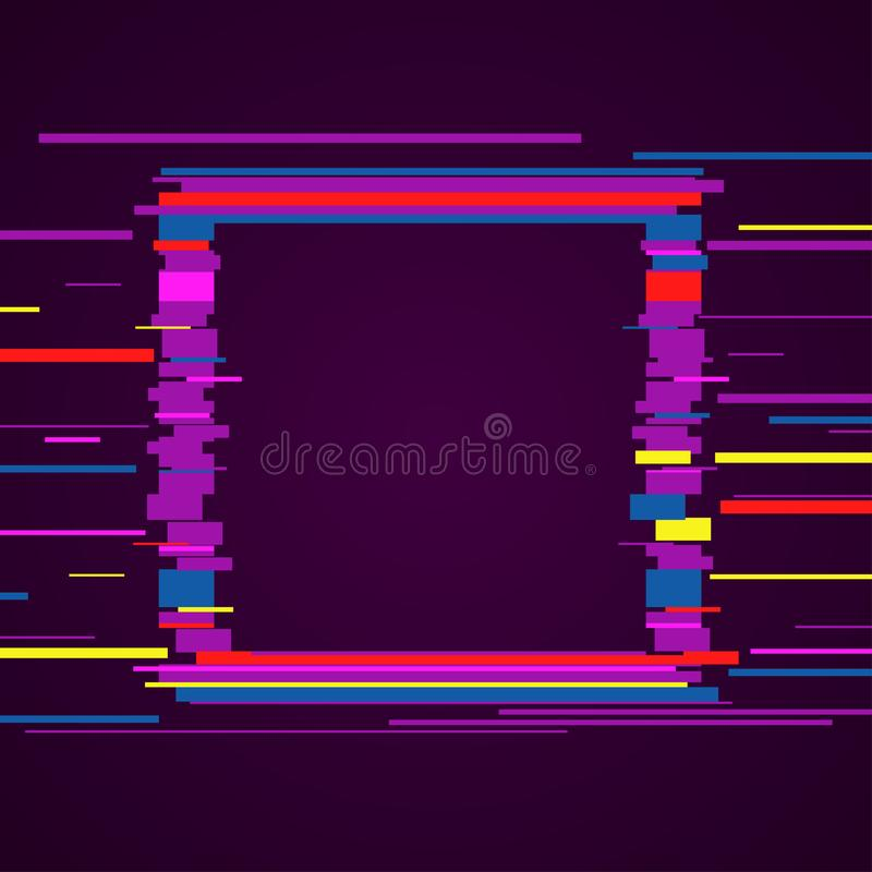 Image with glitch effect. Vector image in purple style. Colorful template with glitch effect for cover design. Creative illustration stock illustration