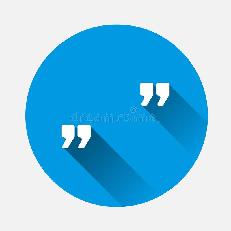 Vector image of quotes on blue background. Flat image quotes icon with long shadow. Layers grouped for easy editing illustration. For your design stock illustration