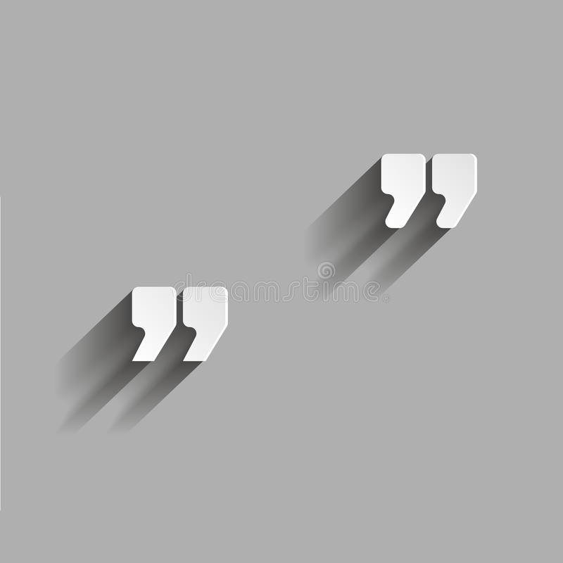 Vector image of quotes. illustration with shadow. Design stock illustration