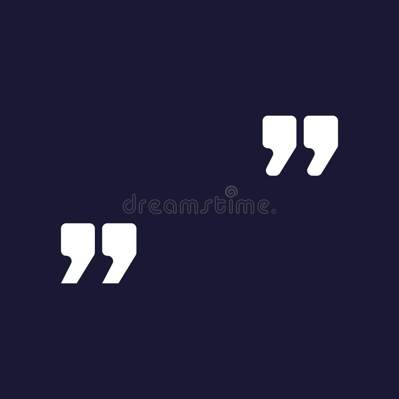 Vector image of quotes. White vector icon on dark blue. Background stock illustration