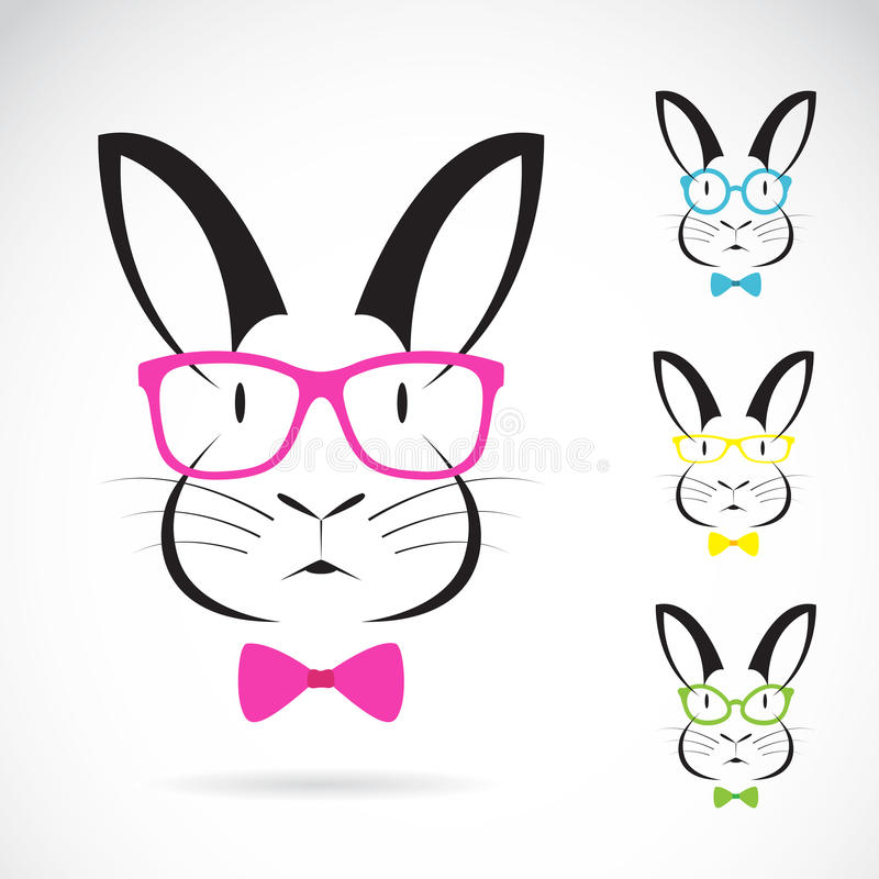 Vector image of a rabbits wear glasses vector illustration