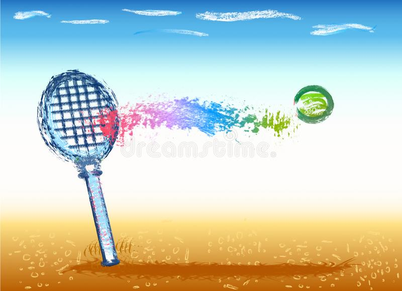 Tribute to tennis, racket with ball and color landscape. Vector with image of racket with the colors of tennis throw. A tribute to tennis pros in color vector illustration