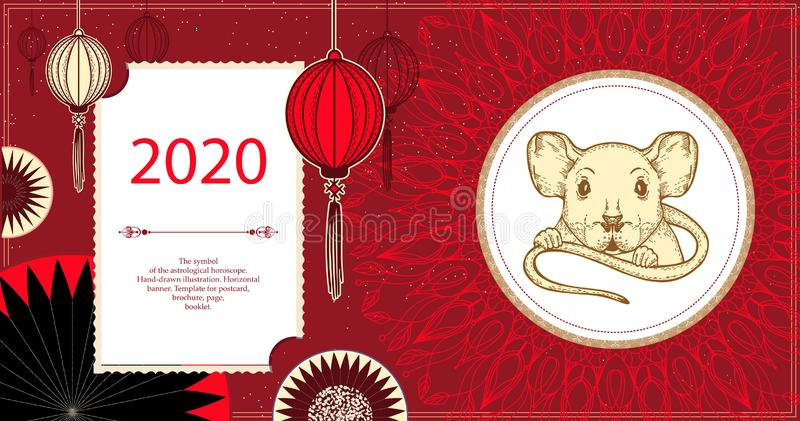 Vector image of a rat. The symbol of 2020. Horizontal banner. stock illustration