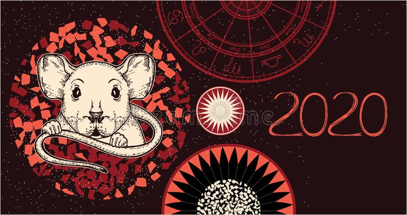 Vector image of a rat. The symbol of 2020. vector illustration
