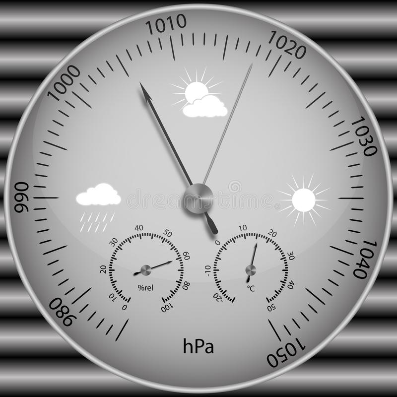 Barometer for determining atmospheric pressure. Vector image of a realistic barometer for determining atmospheric pressure vector illustration