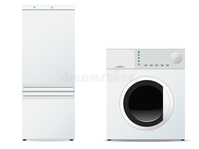 Vector image of refrigerator and washing machine vector illustration
