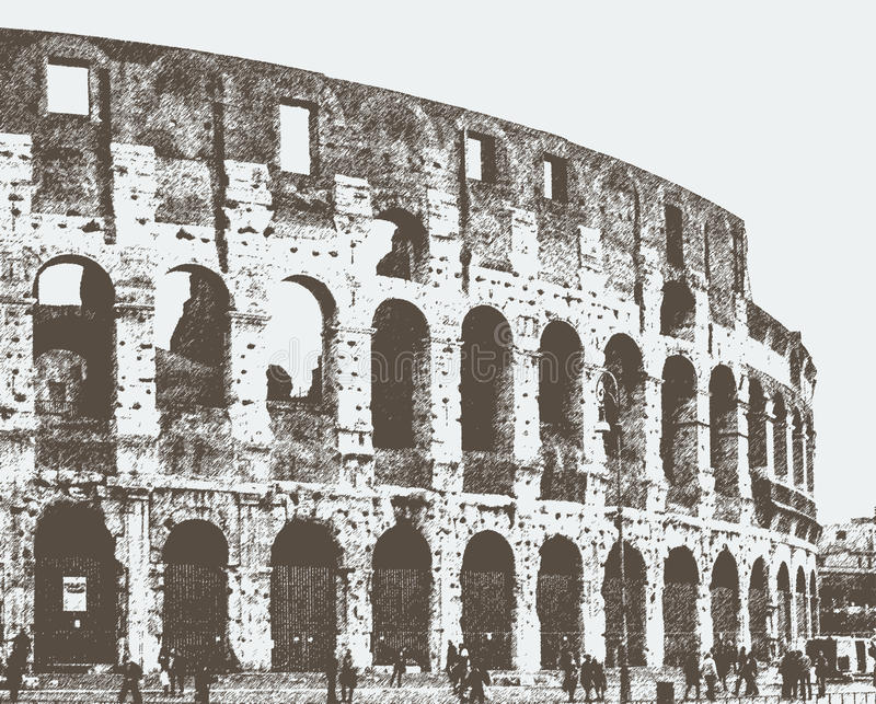 Vector image of the Roman Colosseum. The ancient Colosseum in Rome, Italy royalty free illustration