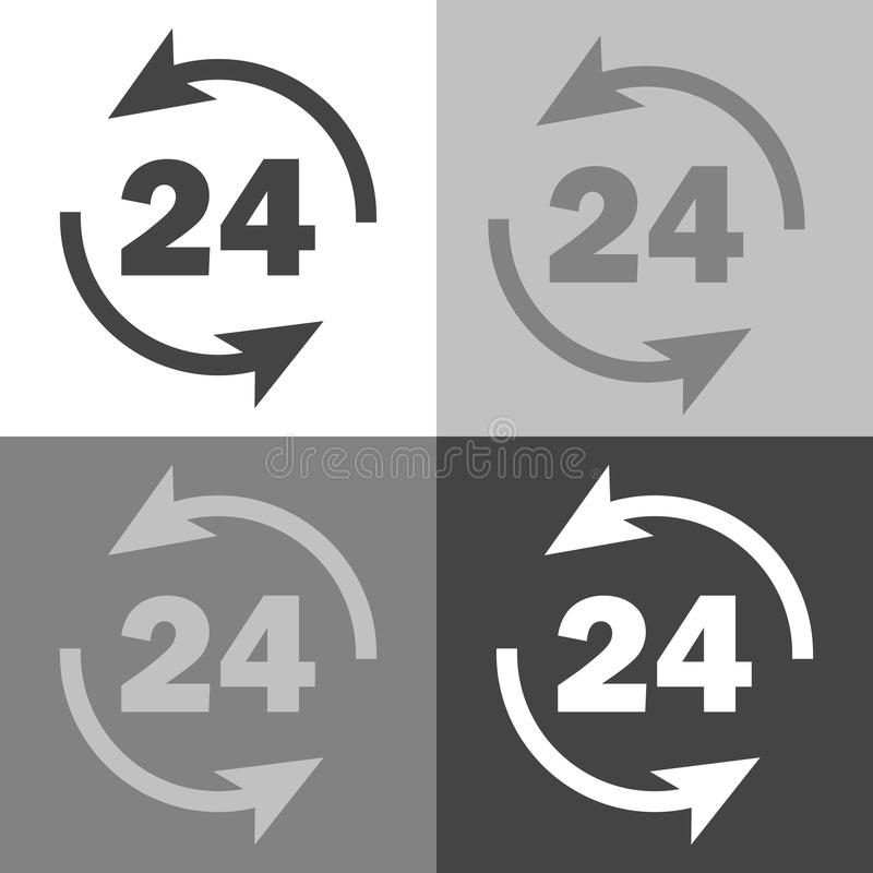 Vector image round the clock. 24 hours. Time icon. Business concept pictogram. Vector set icon on white-gray-black color vector illustration