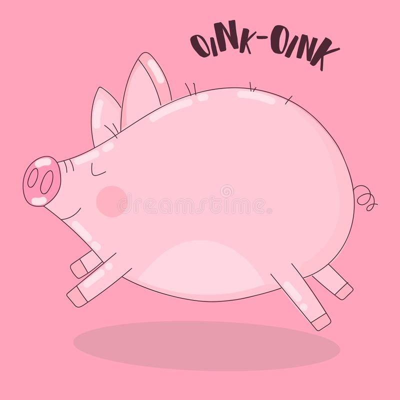 Vector image of a running pig on a pink background with the words Oink. Illustration for New Year, Christmas, prints, invitations,. Flyers, cards, children stock illustration