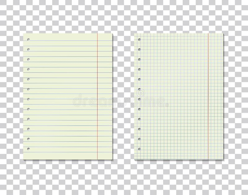 Vector image set of checkered and line sheets of paper on transparent background. Realistic sheets from a notebook. Layers grouped vector illustration