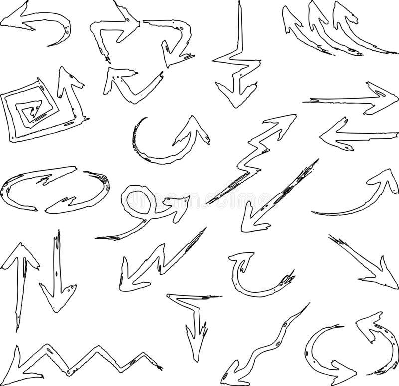 Vector image of a set of different outlines arrows royalty free illustration