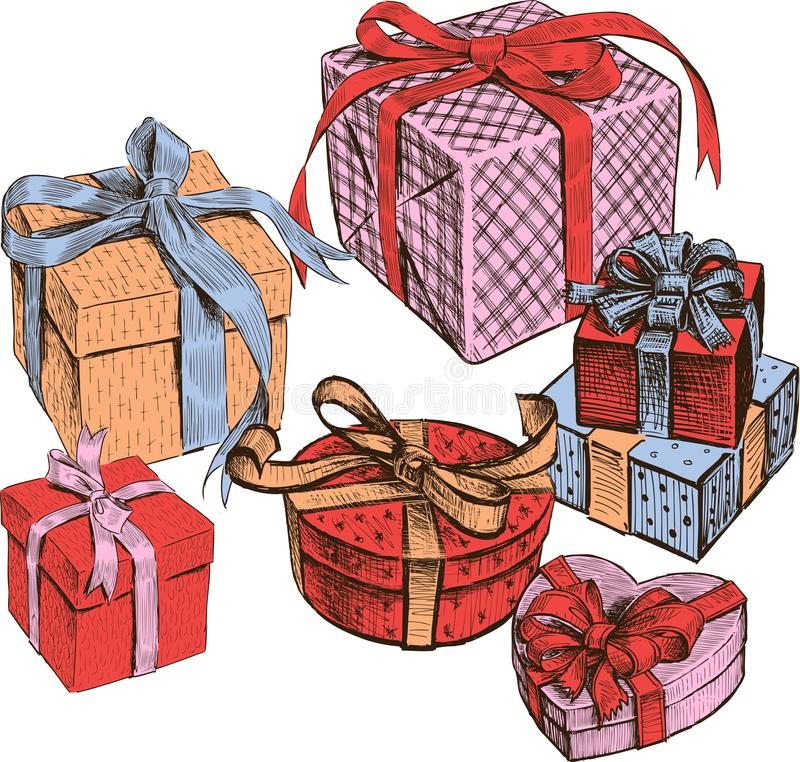 Different boxes with gifts. All objects are isolated. stock illustration
