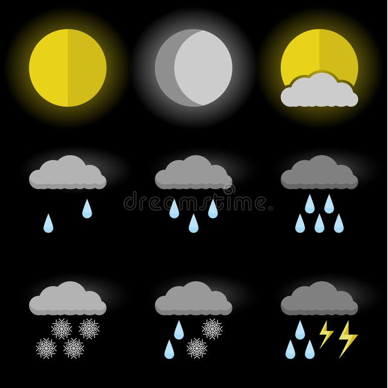 Vector image of set of weather icons, sun, moon and sun behind the clouds. Flat. Black background stock illustration
