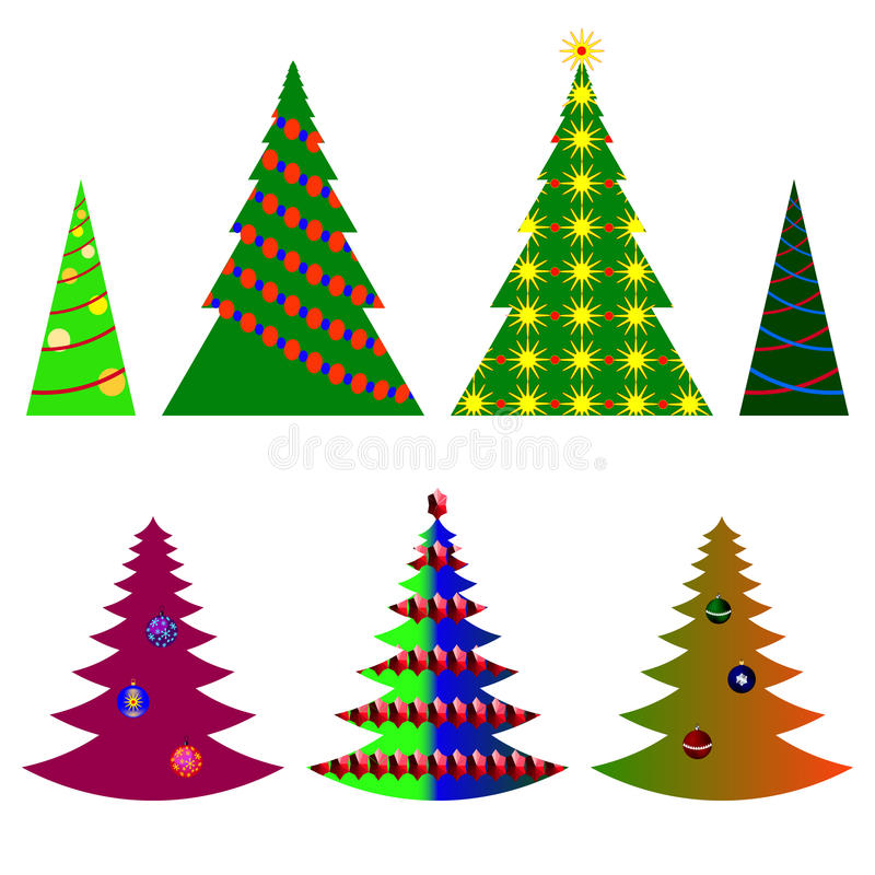 vector image seven Christmas trees with beautiful balls and decorations on a white background royalty free illustration