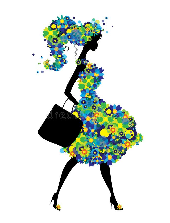 Shopping woman silhouette with green and blue flowers dress isolated stock illustration