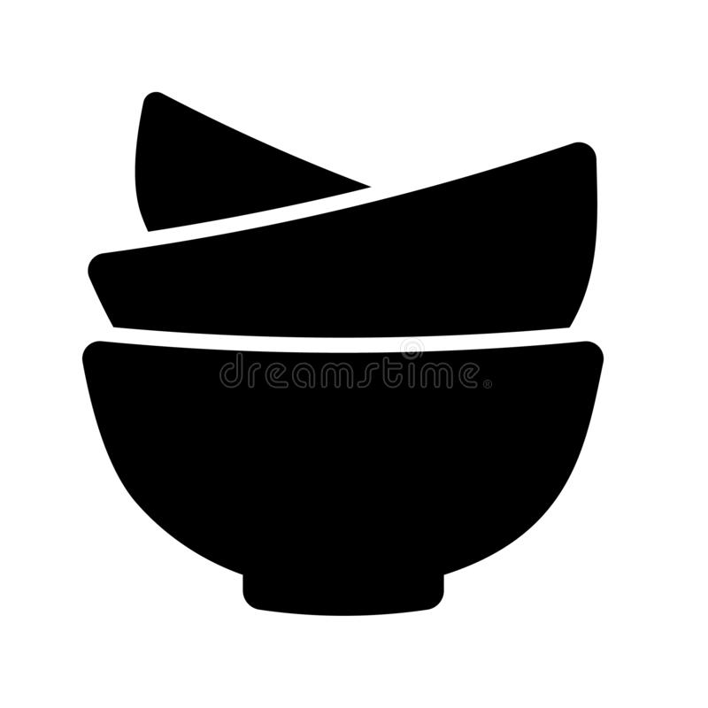 Bowls Icon Vector. This vector image shows kitchen bowls in glyph icon style. It is isolated on white background stock illustration