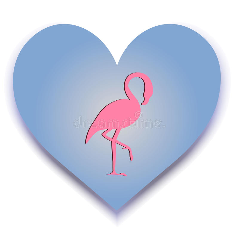 Vector image with silhouette heart and flamingo. Logo. royalty free stock photo