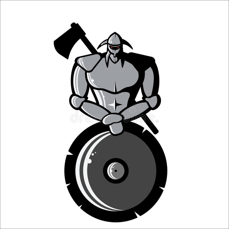 Vector image of Silver Viking with Shield and Ax vector illustration