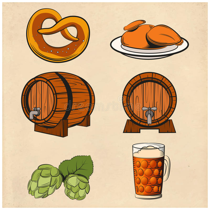 Some beer line color icons. Vector image of the Some beer line color icons royalty free illustration