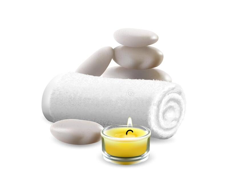 Vector image of spa set of towels of stones and candles royalty free stock image