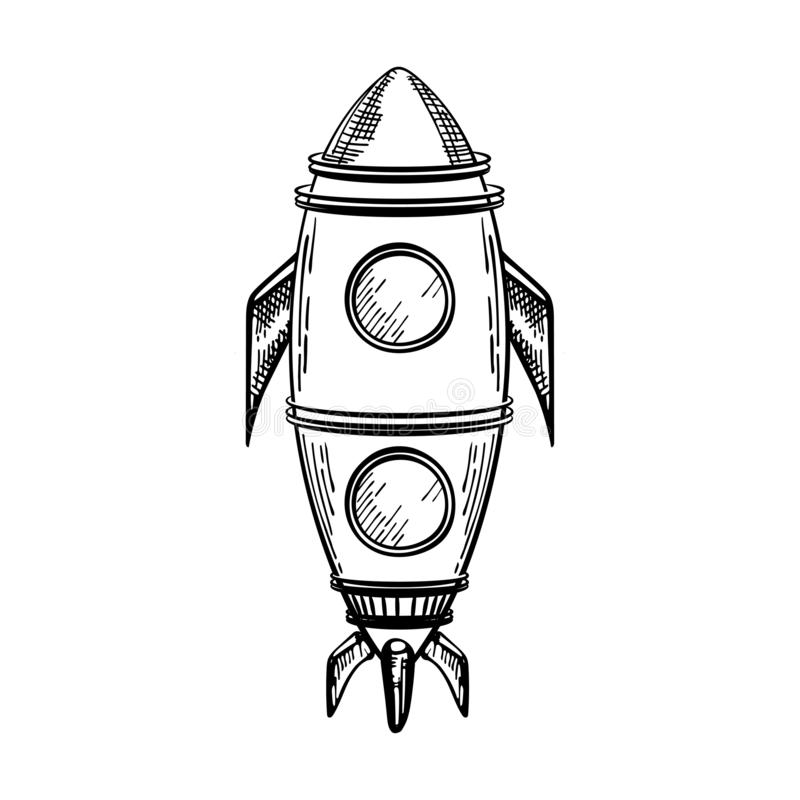 vector image space rocket coloring page sketching graphics