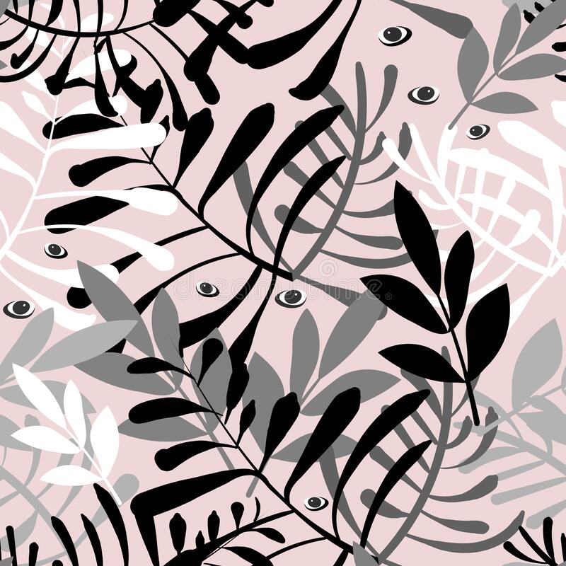 Vector image of stems and leaves of white and black on a pale pink background. Seamless pattern for textile, wrapping royalty free stock images
