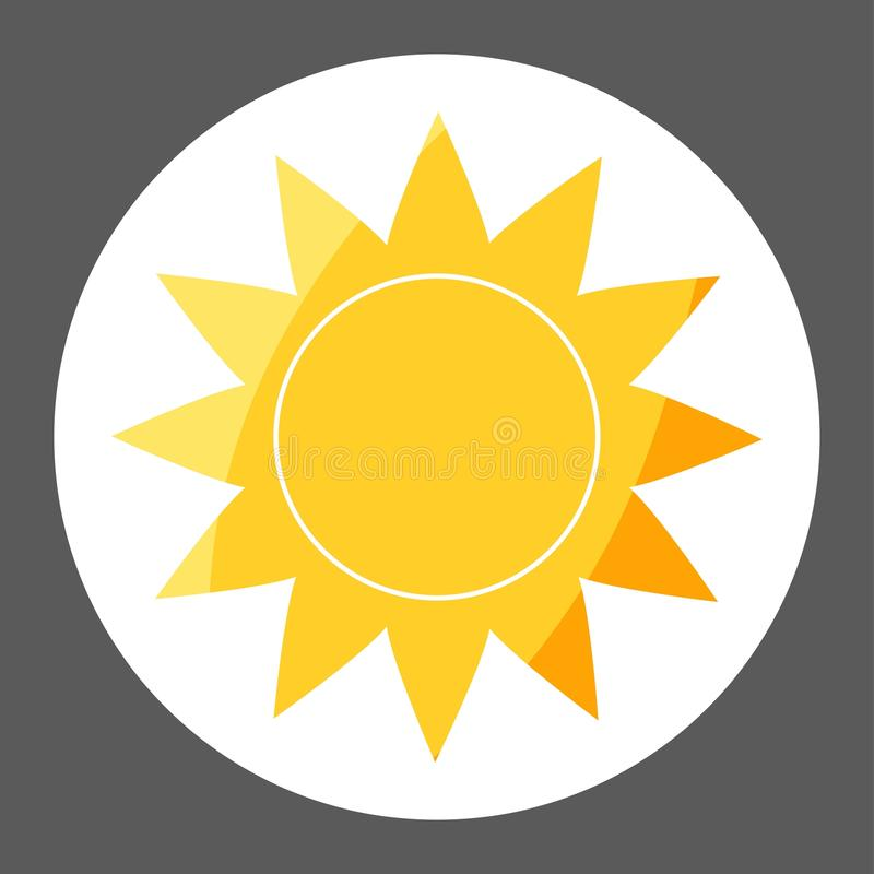 Vector image of the sun. Sunny weather. Vector weather forecast. Icon colored sticker. Layers grouped for easy editing illustration. For your design royalty free illustration