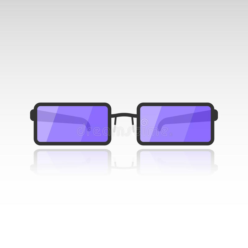 Vector image of sunglasses with purple lenses on a white background with a mirror shade from the glasses. Flat.  stock illustration