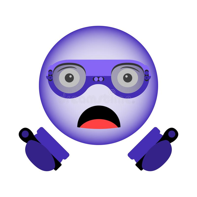 Vector image of a surprised smiley in virtual reality glasses with a new generation of controllers in hand in the ultraviolet colo. R vector illustration