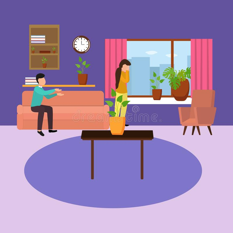 A vector image of a tense home environment. Vector illustration of a cartoon man sitting on the sofa says wife is crying. Family conflict concept stock illustration