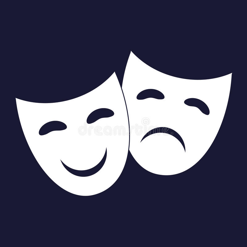 Vector Image Theatrical face mask. Drama and comedy. stock illustration