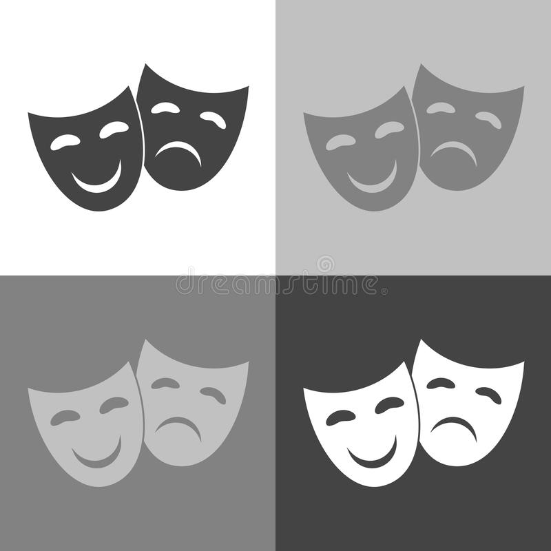 Vector Image Theatrical face mask. Drama and comedy. Vector on. White-grey-black color stock illustration