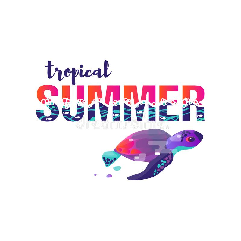 Vector image of turtle. A vivid abstract. Lettering the phrase `tropical summer` royalty free illustration