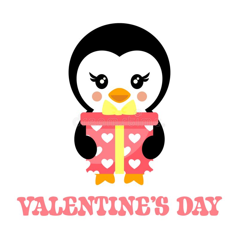 Valentines day cartoon penguin with lovely present and text. Vector image of a valentines day cartoon penguin with lovely present and text vector illustration