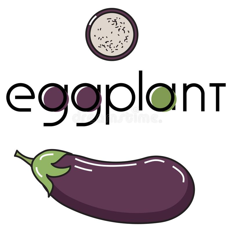 Vector image of a vegetable with the original inscription eggplant. vector illustration
