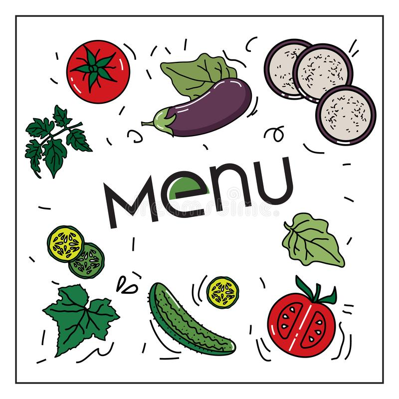 Vector image of vegetables: eggplants, cucumbers, tomatoes for vegetarian and other menus vector illustration