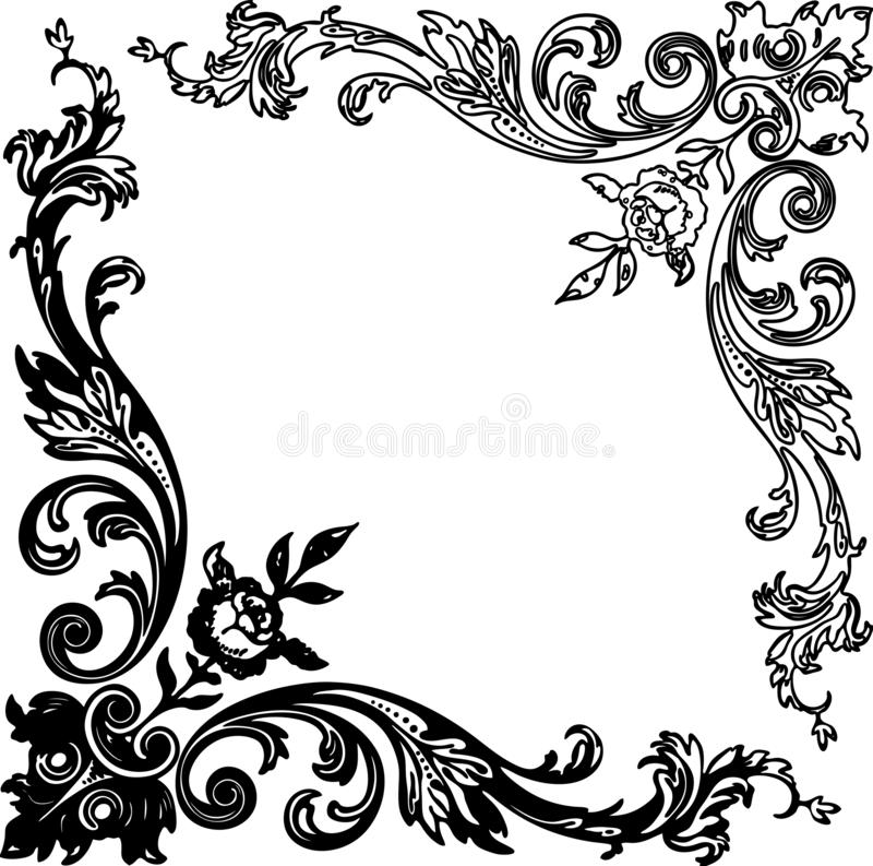 Vector image of the vintage floral corners royalty free illustration
