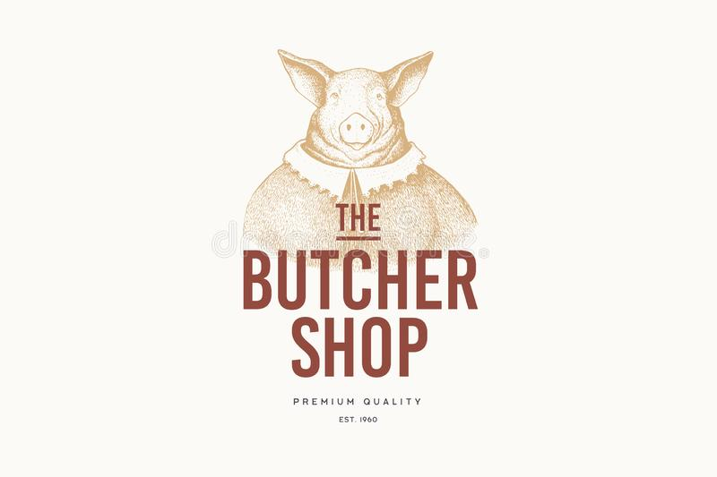 Vector image of a woman-pig in a dress in the technique of engraving and the inscription: `Butcher Shop` on light background. vector illustration