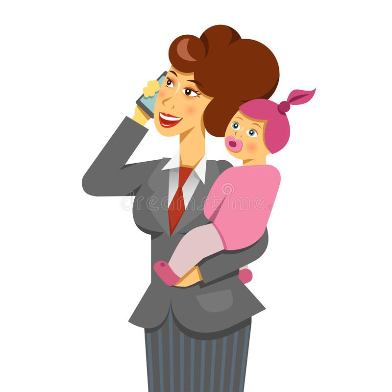 A vector image of working mother with a baby talking a phone. work ans life balance theme. The office clerk woman making a career vector illustration