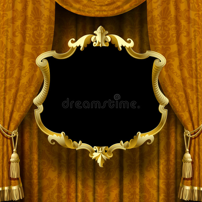 Vector image of yellow-brown curtain with baroque ornament and f vector illustration