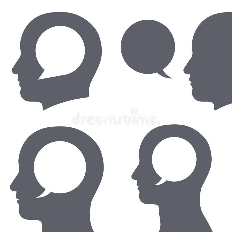 Vector a imagem da bolha do discurso dentro da cabeça humana ilustração stock