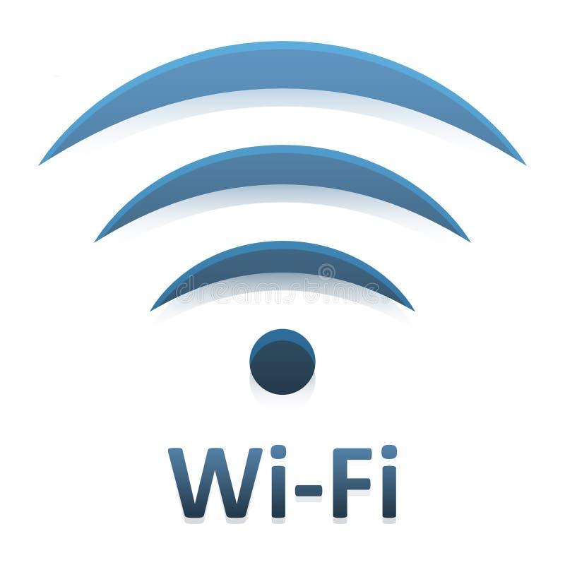 Vector a imagem da conexão dos Wi Fi do logotype com a reflexão de espelho no fundo branco ilustração do vetor