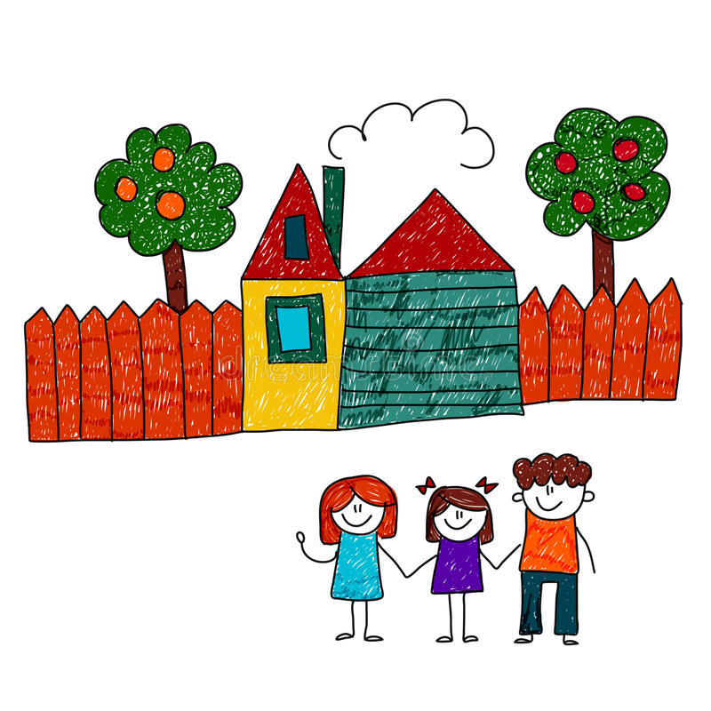 Vector a imagem da família feliz com casa e jardim ilustração stock