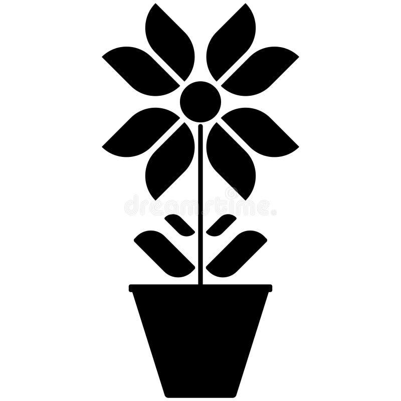 Vector a imagem de ícones preto e branco da flor em um potenciômetro em um fundo branco ilustração stock