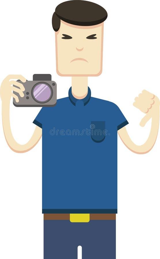 Vector a imagem de um asiático com uma câmera ilustração stock