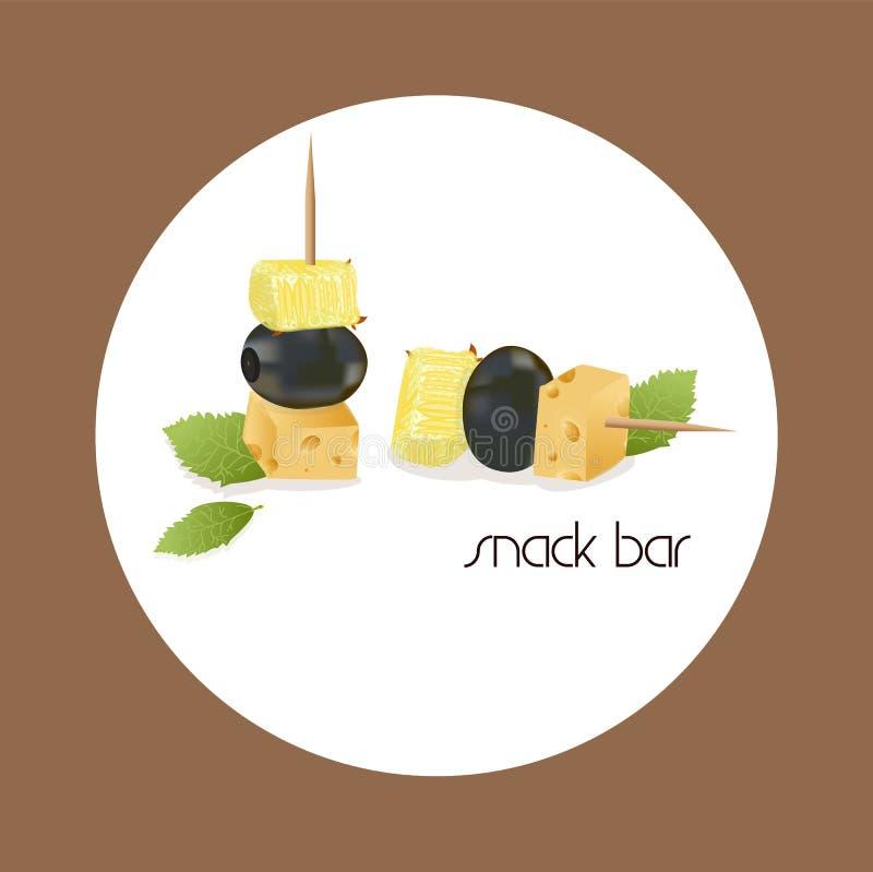 Vector a imagem de um canape, que consista em azeitonas, em queijo e em abacaxi ilustração do vetor